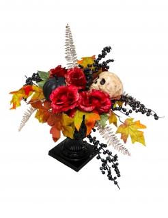 Tischdekoration Halloween Blumen-Dekoration Blumenstrauß Dia de los muertos rot orange schwarz 16 x 47 cm