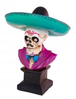 Skelett-Büste Tag-der-Toten-Deko Sugar Skull lila-türkis