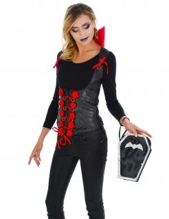 Fledermaus-Sarg Handtasche für Damen Halloween-Accessoire schwarz-silberfarben