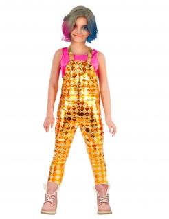 Harlekin-Latzhose für Kinder Film-Kostüm Halloween gelb-gold