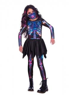 Skelett-Kostüm für Mädchen im Chrome-Stil schwarz-bunt