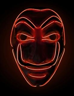 LED-Maske Bankräuber für Erwachsene Halloween rot