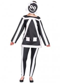 Strichmännchen-Kostüm für Damen witziges Halloween-Kostüm