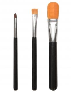 Make-up-Pinsel 3-teilig schwarz-silber