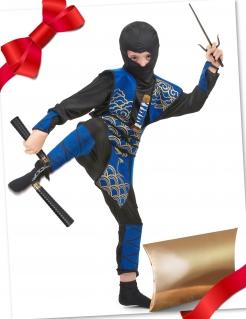 Ninja-Geschenkset für Kinder blau-schwarz 11-teilig