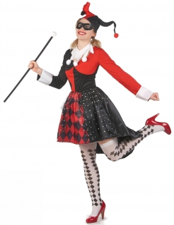 Durchgeknallter Harlekin Damenkostüm für Halloween schwarz-rot-weiß