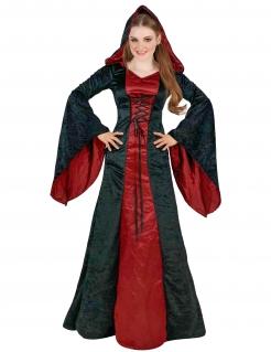 Gothic-Kapuzenkostüm für Damen schwarz-rot