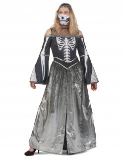 Unheimliche Skelettprinzessin Damenkostüm grau-weiß-schwarz