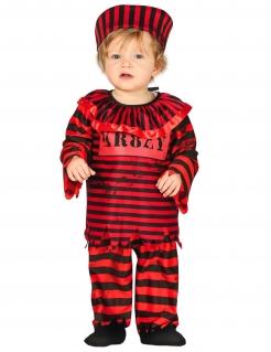 Gefangenen-Kostüm für Kleinkinder, Sträfling, Häftling, Gefängnis, schwarz, rot