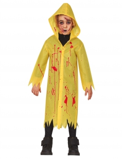 blutiger Regenmantel, Halloween-Kostüm für Kinder, gelb