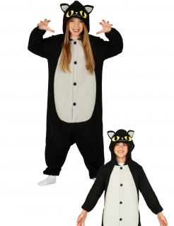 Katzen-Kostüm für Kinder, Overall, schwarz, weiss