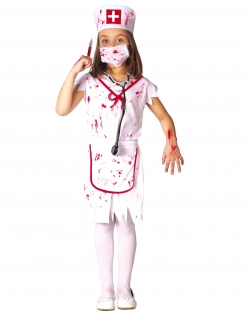 Kleine Zombie-Krankenschwester Halloween-Mädchenkostüm weiß-rot
