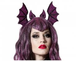Fledermaus-Haarreif Halloween-Accessoire für Erwachsene lila-schwarz