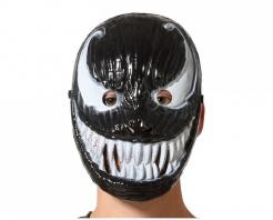 Alien-Maske für Erwachsene Halloween schwarz-weiß