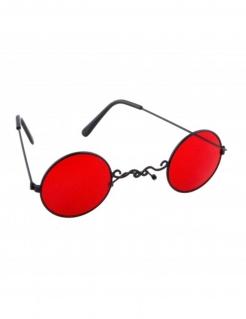 Gohtic Brille mit roten Gläsern Halloween schwarz-rot