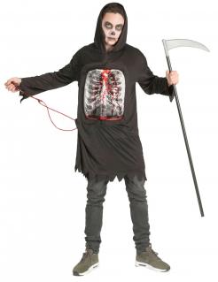 Blutiger Sensenmann-Kostüm für Herren mit fließendem Blut schwarz