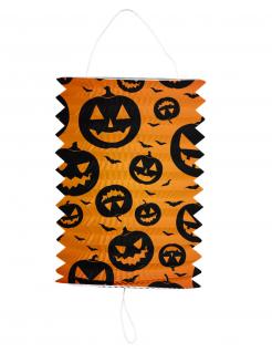 Halloween-Lampion Kürbis Gartendeko orange-schwarz 16 x 22 cm
