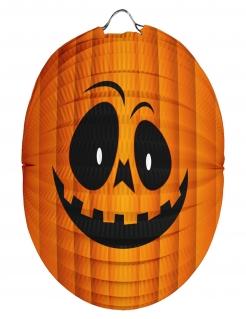 Kürbis-Lampion Halloween-Laterne orange-schwarz 22 cm