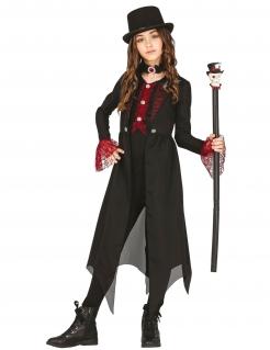 Gothic-Kostüm für Kinder Halloween-Zaubererin schwarz-rot