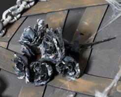 Halloween-Kunstblumen schwarz-grau