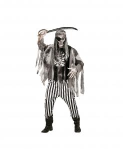 Skelett-Pirat-Kostüm für Herren Halloween grau