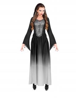 Vampir-Kleid Vampir-Kostüm für Damen Halloween schwarz-weiß