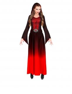 Vampir-Kleid Vampir-Kostüm mit Spinnweben Halloween schwarz-rot