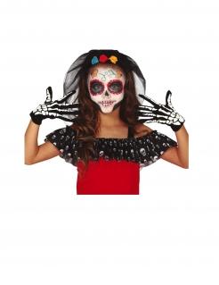 Skelett-Handschuhe für Kinder Halloween-Accesoire schwarz-weiß