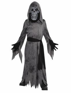 Sensenmann-Kostüm für Kinder gruseliger Ghoul Halloween grau-schwarz