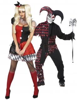 Horror Harlekin-Paarkostüm Halloweenkostüm für Erwachsene schwarz-rot-weiss