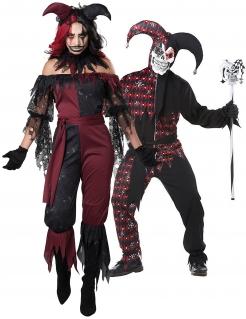 Horrorclown-Paarkostüm Halloween rot-schwarz