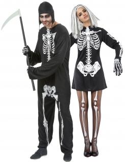 Halloween Skelett-Paarkostüm für Erwachsene schwarz-weiss
