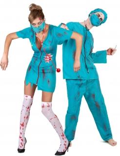 Zombie-Chirurgie-Paarkostüm türkis