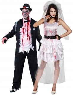Zombie-Brautpaar-Kostüm Halloween-Paarkostüm schwarz-weiß-rot