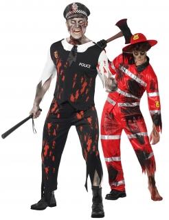 Halloween-Partner-Kostüm für Männer Zombie-Polizist und Zombie-Feuerwehrmann