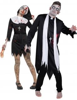 Zombie-Geistliche-Paarkostüm Zombie-Priester Zombie-Nonne