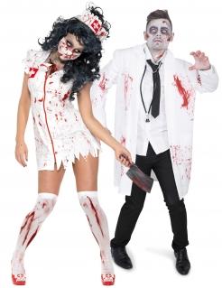 Halloween-Paar-Kostüm Zombie-Arzt und Krankenschwester