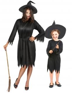 Mutter-Tochter-Halloween-Kostüm  Hexen schwarz