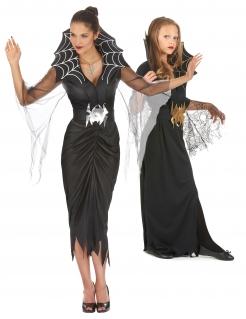 Mutter-Tochter-Halloween-Kostüm Spinnen-Hexen schwarz