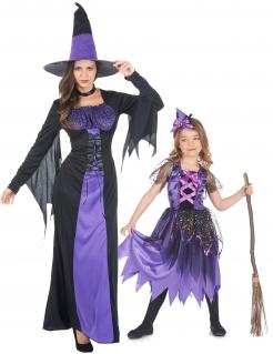 Mutter-Tochter-Halloween-Kostüm Hexen lila
