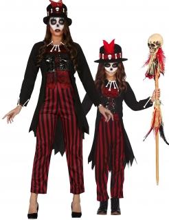 Vodoo Hexen-Paarkostüm für Mutter und Tochter schwarz-rot