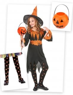 Tolles Kürbishexen-Kostümset für Mädchen schwarz-orangefarben
