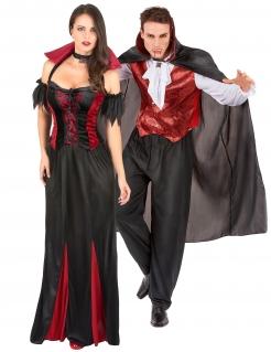 Vampir-Paarkostüm Halloweenkostüm für Erwachsene schwarz-rot-weiss