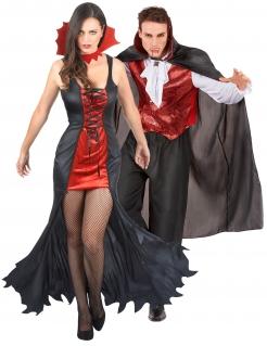 Unwiderstehliches Vampir-Paarkostüm für Halloween schwarz-rot