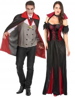 Vampir-Paarkostüm Graf und Gräfin Dracula schwarz-rot-grau