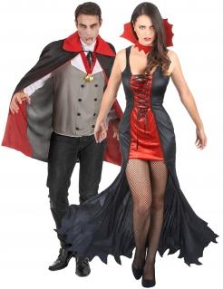 Vampir-Paarkostüm für eine unsterbliche Liebe Halloween schwarz-rot-grau