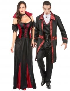 Dunkles Vampir-Kostüm für Paare schwarz-rot