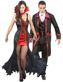 Vampir-Paarkostüm Dream-Team schwarz-rot