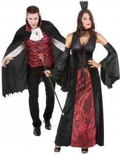 Vampir-Paarkostüm Halloween-Päärchen schwarz-rot
