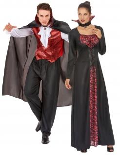 Klassisches Vampir-Paarkostüm Halloween schwarz-rot